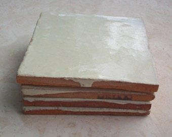 Terra Cotta Tile Made in Mexico with Cream Glaze 4x4  (4 tiles)