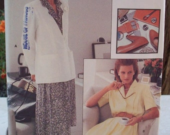 Vogue 7157 Career Pattern Jacket and Dress Pattern Dated 1988 Plus Size 20, 22, 24