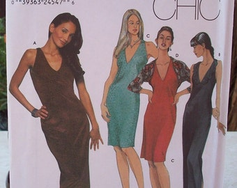Simplicity 9501 Easy Chic Pattern One Hour Evening Dress and Shrug Pattern Dated 2000 Sizes 4, 6, 8, 10