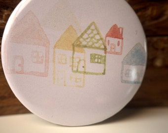 Little houses mini mirror // Illustrated mini mirror // Girls pocket mirror // illustration