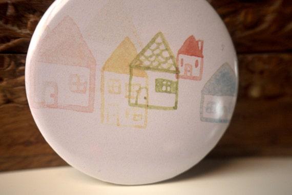 Little houses mini mirror // Illustrated mini mirror // Girls pocket mirror // illustration