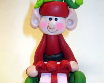 Polymer clay Christmas Ornament, Christmas ornament elf in green and red with present, Polymer Clay  2017