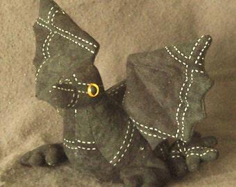 Baby Dragon Black Patchwork Beanbag