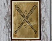 Vintage baseball bats art print Antique paper Antiqued decor AK73