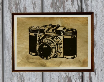 Old looking vintage art print Antique paper retro camera AK327