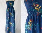 Prom Dress Maxi Full Length Navy Floral
