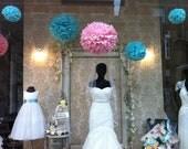 6 x Tissue Paper Pompoms - Any Colour - Romantic Paper Poms - Wedding - Christening - Birthday - Dessert Table