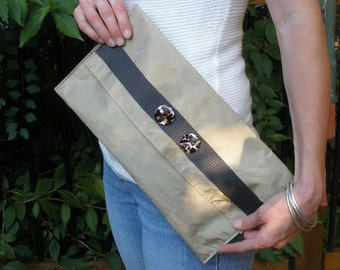 ON SALE !  Metallic Olive Clutch Purse with Textured Leather Trim and Animal Print Buttons
