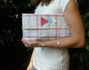 SUMMER SALE! Handmade for spring. Pink Blue and White Clutch with Floral Interior and Leather Complimenting Arrowheads
