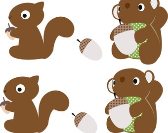 Kids vinyl wall decal set of 4 squirrels with acorns