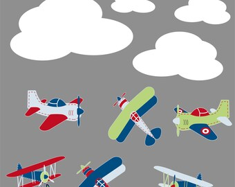 Nursery decals - Vinyl plane decal - Children decals - Plane and cloud set