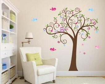 Wall decals - Swirl tree - Owl tree - Vinyl tree decal - Nursery decals - Birds and flowers
