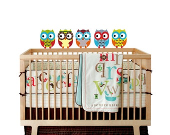 NEW LOOK Kids set of 5 owls vinyl wall decal cute for a nursery or childs room or along a crib