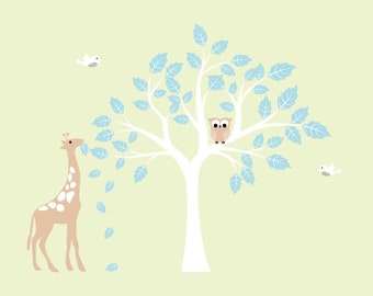 NEW LOOK childrens removable vinyl wall decal  Tree with Giraffe owl and birds Cute for any nursery