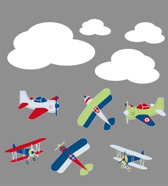 Nursery decals - Vinyl plane decal - Children decals - Plane and cloud set
