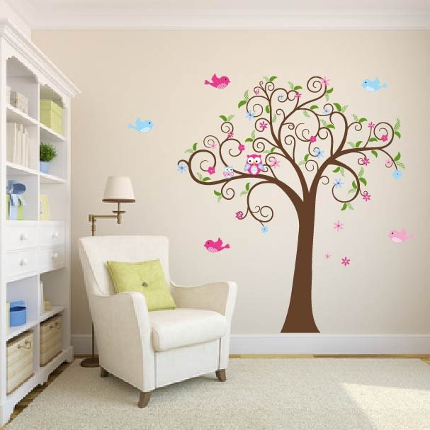 Wall Decals Swirl Tree Owl Tree Vinyl Tree Decal