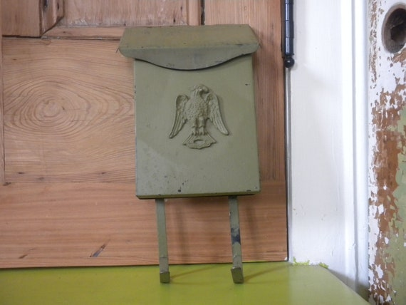 Vintage Vertical House Mailbox With Old Green Painted Patina