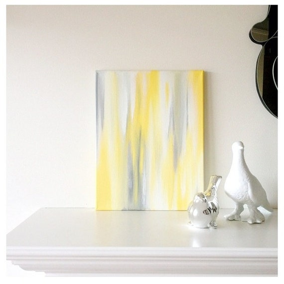 11x14 Canvas Painting- Ikat: Yellow & Grey