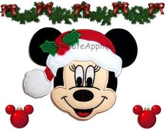 Minnie Mouse Santa No Sew Applique Patch