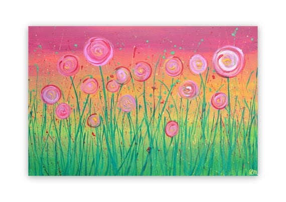 Abstract Flower Painting - Rainbow Colours