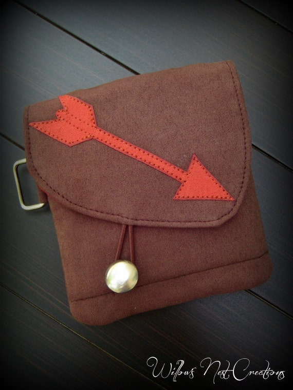Handmade Arrow Wallet in Chocolate and Red - Hunger Games Inspired