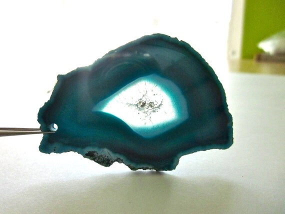 Agate Slice with Drilled Hole for Wire Wrapping and Jewelry Making Teal Blue 57mm x 42mm (Lot No. 646)