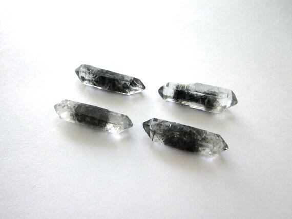 Tibetan Black Quartz Points 27-28mm Lot of 4 Raw Rough Natural Crystals Double Terminated (Lot No. 743)