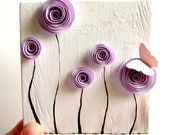 Lavender Botanical Art Decor | Any Size & Color Available | Mixed Media Art-Paper Rosette, Gift for Girlfriend, Wife, Mom, Baby's Room