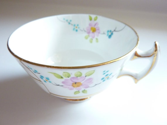 Hand Painted Vintage Teacup with Green Turquoise and Lavender Flowers - T.F. & S. Ltd Phoenix Bone China Made in England