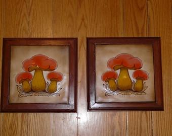 Ceramic Tile Mushrooms Wood Frames