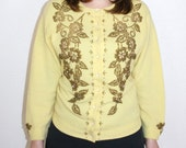 Gorgeous 1950s Glass Beaded Yellow Cashmere Cardigan Sweater / PETERS 100% Cashmere by Harilela's / Hand Beade