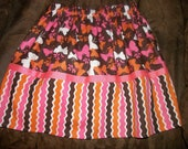 Custom made skirt in brown/pink/white contrasting fabrics