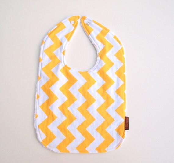 Chevron baby bib yellow cotton white minky snap