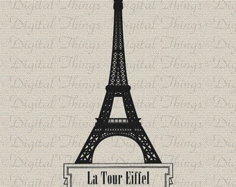 French Script Eiffel Tower Paris French Decor Wall Decor Art Printable Digital Download for Iron on Transfer Totes Pillows Tea Towels DT1088