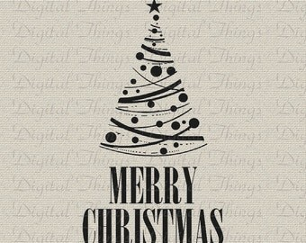 Merry Christmas Tree Typography Holiday Decor Wall Decor Art Printable Digital Download for Iron on Transfer Fabric Pillow Tea Towel DT1247