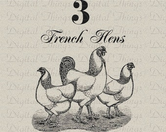 12 Twelve Days of Christmas French Hens Chicken Roosters Printable Digital Download for Iron on Transfer  Fabric Pillows Tea Towels DT1278