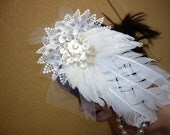 huge Ooak feather/lace/mother of pearl and netting fascinator - wedding
