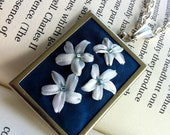 Cyber Monday Sale - Embroidered Flower Pendant, Beaded - Silk Ribbon Embroidery By BeanTown Embroidery