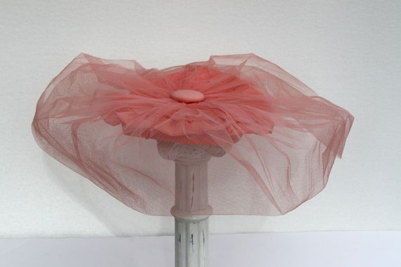 Women's Vintage Hat, Peach Hat, Tulle Hat - Reserved for Kerry