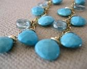 Sleeping beauty turquoise earrings with natural zircon (D3)