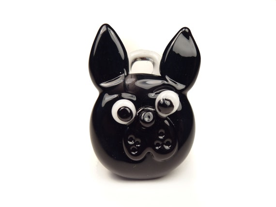 French Bulldog Black - Glass Dog Pendant