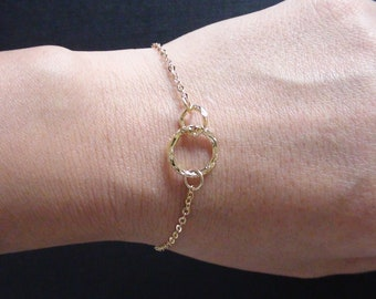 Sale -Bumpy Textured Two Hoops Connector -Yellow Gold Plated Bracelet