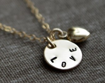 Tiny Disc with Love Necklace - Customize - Personalize - Hand Stamped