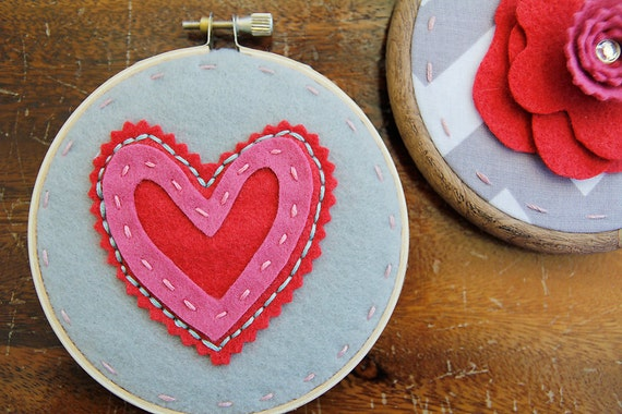 SALE - Embroidery Hoop Art. Layered and Stitched Heart. Pink and Red on Grey Children Decor by Catshy Crafts