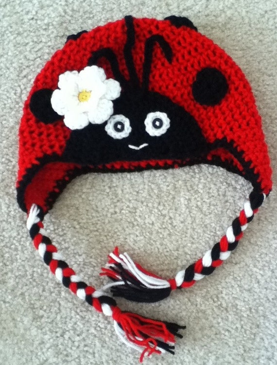 Crochet Ladybug Baby Hat Beanie Infant Toddler Girl Photo Prop
