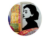 Audrey Hepburn vector painting in white wooden frame