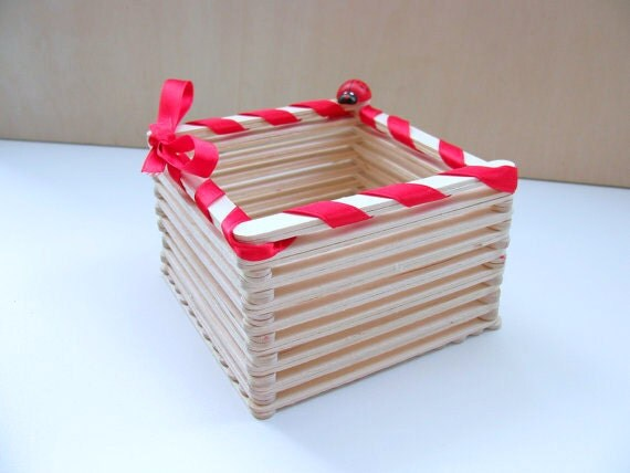 Items similar to popsicle wood stick square basket a for To make best out of waste