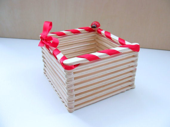 Items similar to popsicle wood stick square basket a for Images of best out of waste things