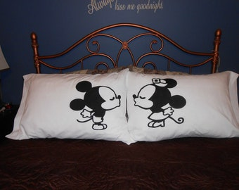 Kissing Mice, Hand Painted on Standard Pillowcases, Couples Gift Ideas
