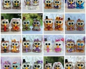 Love bird owl wedding custom cake topper, personalized , unique with banner